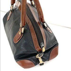 Vintage Bally leather navy satchel bag